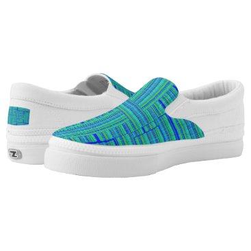 Beach Themed green blue plaid shoe