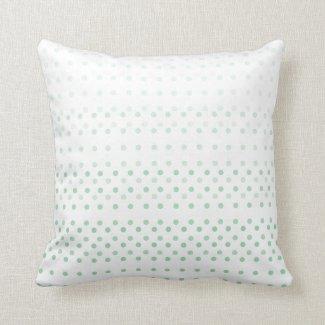 Green Blue Poka Dot Ombre Throw Pillow