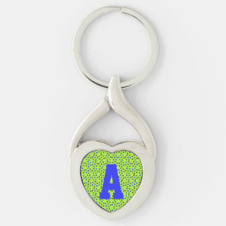 Green Blue Polka Dots Monogram Silver-Colored Heart-Shaped Metal Keychain
