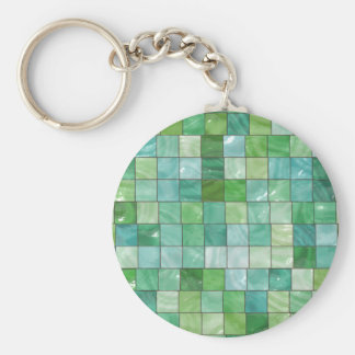 Green Blue Pool Tile Marble Pattern Basic Round Button Keychain