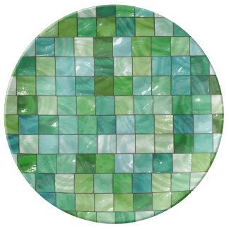 Green Blue Pool Tile Marble Pattern Dinner Plate