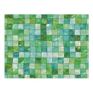 Green Blue Pool Tile Marble Pattern Postcard