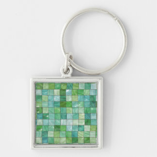 Green Blue Pool Tile Marble Pattern Silver-Colored Square Keychain