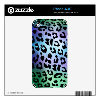 Green Blue Purple Leopard Skin Pattern iPhone 4S Decals