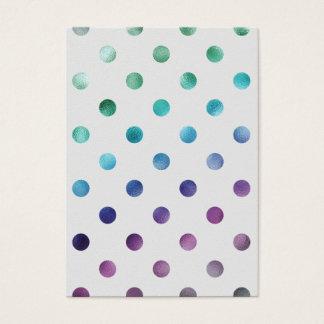 Green Blue Purple Metallic Faux Foil Polka Dot Business Card