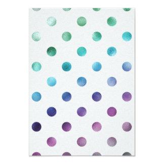 Green Blue Purple Metallic Faux Foil Polka Dot Card