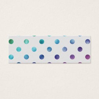 Green Blue Purple Metallic Faux Foil Polka Dot Mini Business Card