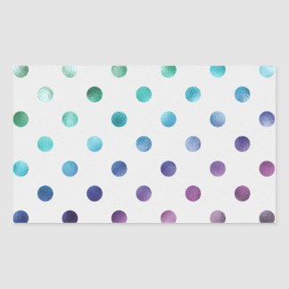 Green Blue Purple Metallic Faux Foil Polka Dot Rectangular Sticker