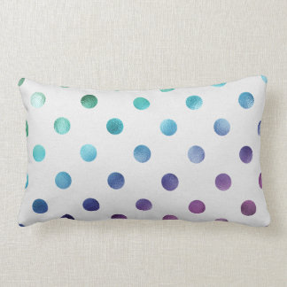 Green Blue Purple Metallic Faux Foil Polka Dot Throw Pillows