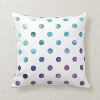 Green Blue Purple Rainbow Metallic Faux Foil Throw Pillow