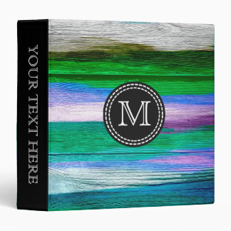 Green, Blue, Purple Watercolor Abstract Pattern #4 Binder