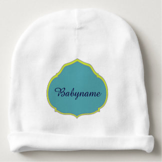 Green & Blue Quatrefoil Personalized Baby Beanie