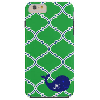 Green Blue Quatrefoil Preppy Whale iPhone 6 Case