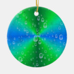 Green blue rainbow with rain drops ornament