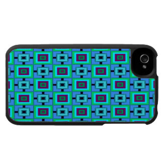 Green blue rectangle pattern case for the iPhone 4