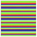[ Thumbnail: Green, Blue, Red, and Chartreuse Lines Fabric ]