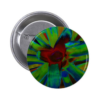 Green Blue Red Bromeliad Plant Image 2 Inch Round Button