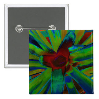Green Blue Red Bromeliad Plant Image 2 Inch Square Button