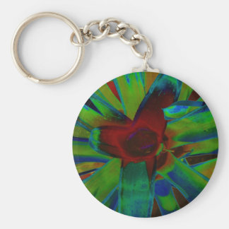 Green Blue Red Bromeliad Plant Image Basic Round Button Keychain