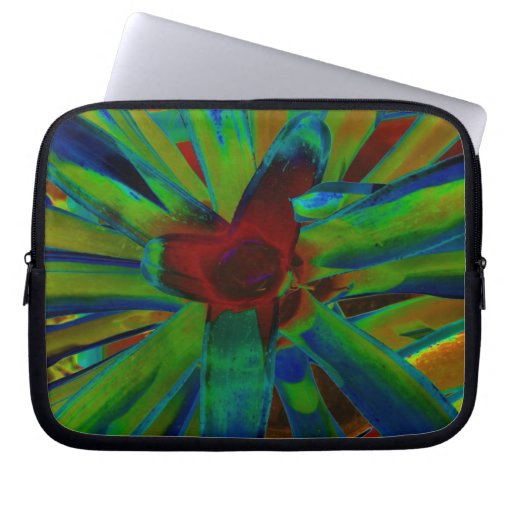 Green Blue Red Bromeliad Plant Image Laptop Sleeves
