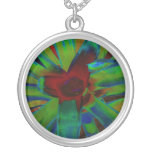 Green Blue Red Bromeliad Plant Image Necklaces