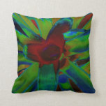 Green Blue Red Bromeliad Plant Image Pillow