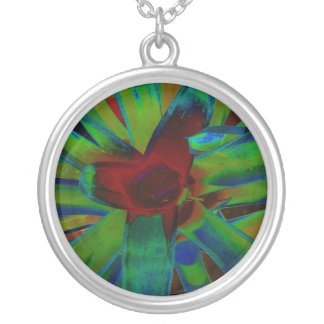 Green Blue Red Bromeliad Plant Image Round Pendant Necklace