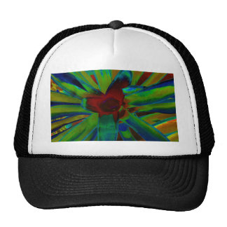 Green Blue Red Bromeliad Plant Image Trucker Hat