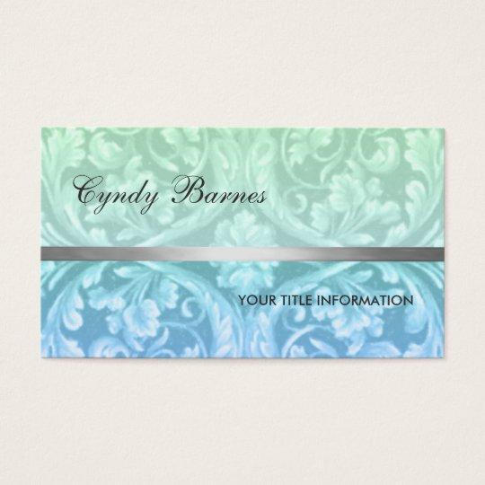 Green Blue Renaissance Damask Business Card