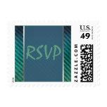 Green, Blue Silver Striped RSVP Postage