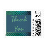 Green, Blue Silver Striped Thank You Postage