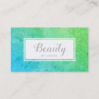 Green Blue Sparkle Glitter Beauty Make Up Artist Business Card