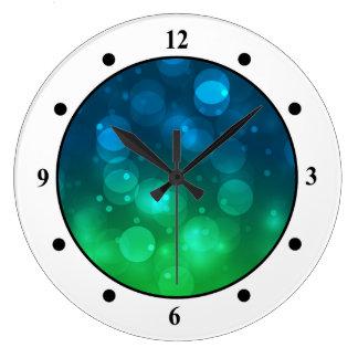 Green & Blue Sparkles Light Design Large Clock