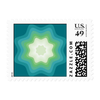 Green Blue Star Polygon Postage Stamps