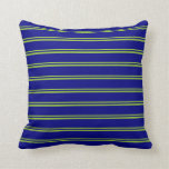 [ Thumbnail: Green & Blue Striped/Lined Pattern Throw Pillow ]