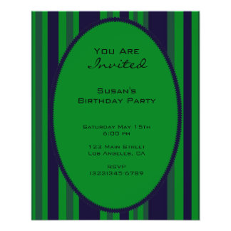 green blue striped party flyer