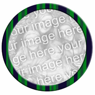 green blue striped photo frame statuette