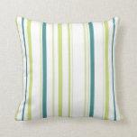 Green & Blue Striped Pillow