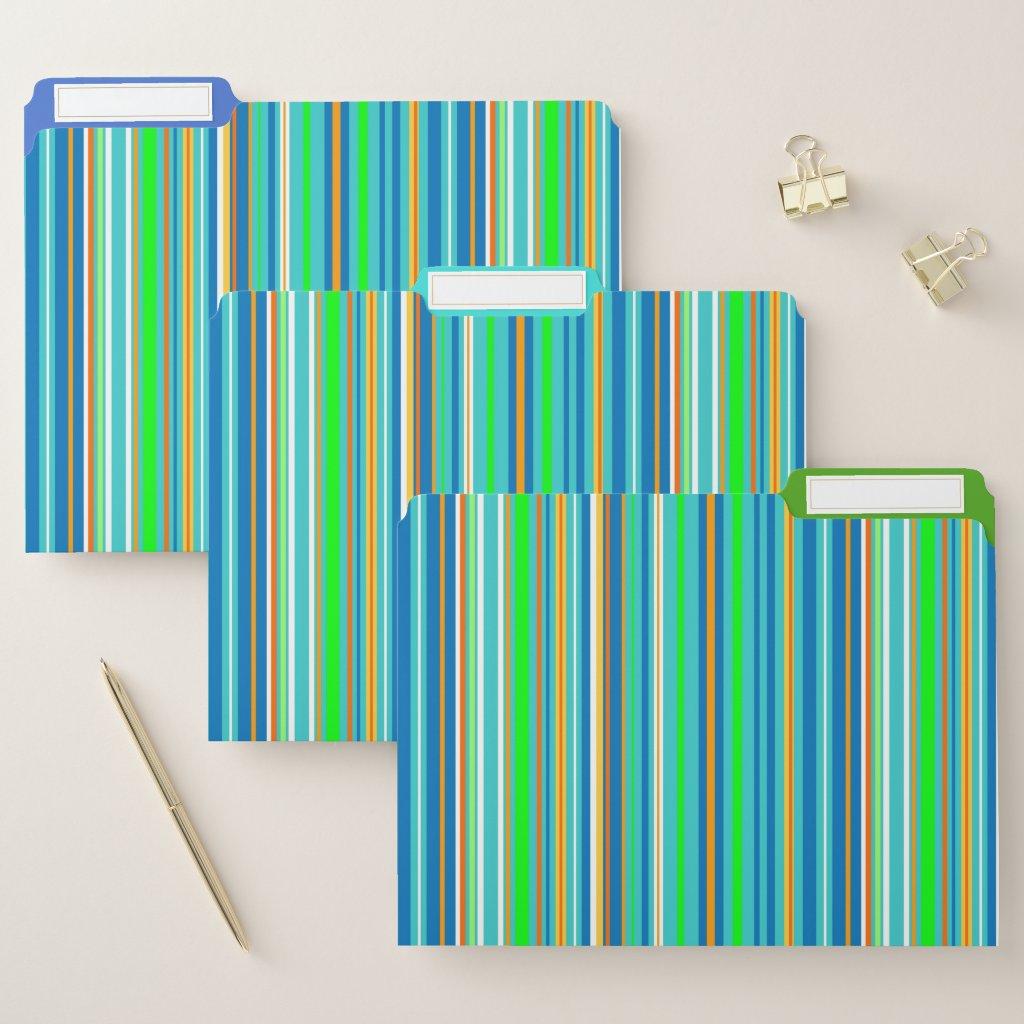 Green Blue Stripes File Folder Set