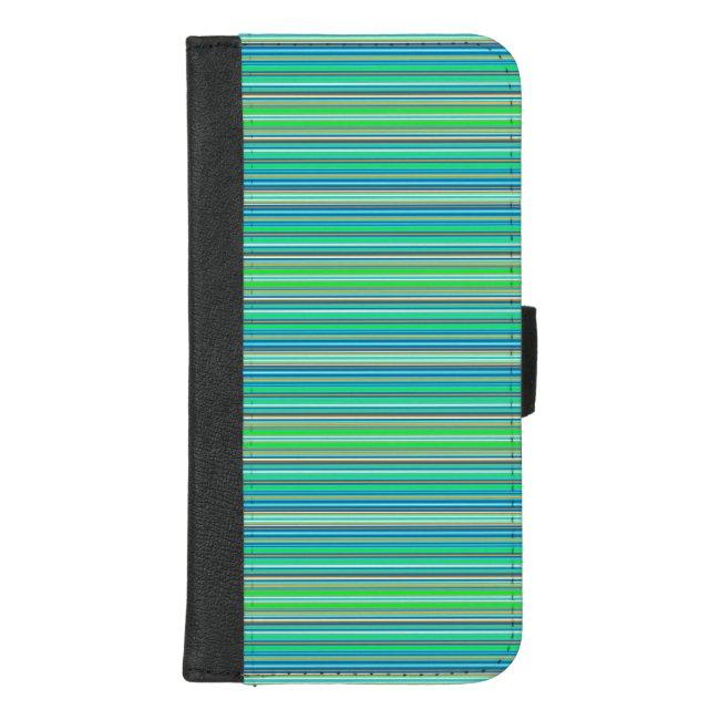 Green Blue Stripes iPhone 8/7 Plus Wallet Case