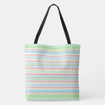 "Beach Themed ""Green / Blue Stripes"" tote bag."