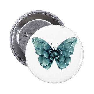 Green blue succulent butterfly silhouette pinback button