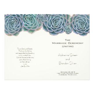 Green Blue Succulents Folded Wedding Programs