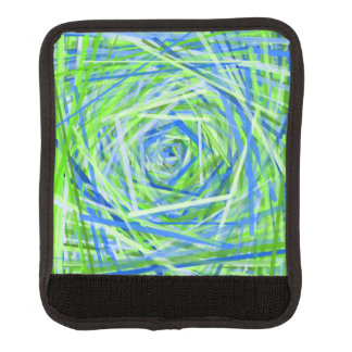 Green & Blue Swirling Lines Pattern Luggage Handle Wrap