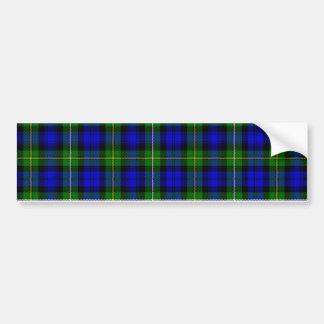 Green & Blue Tartan Car Bumper Sticker