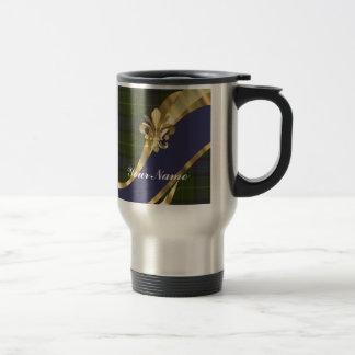 Green & blue tartan plaid travel mug