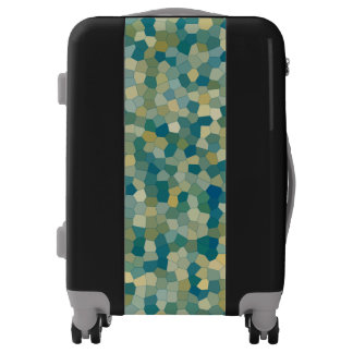 Green Blue Teal Yellow Stain Glass Pattern Luggage