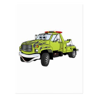 Green Blue Tow Truck Cartoon Postcards