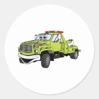 Green Blue Tow Truck Cartoon Classic Round Sticker