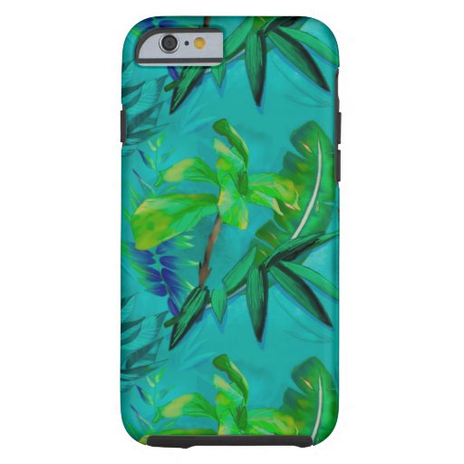 Green blue tropical foliage tough iPhone 6 case